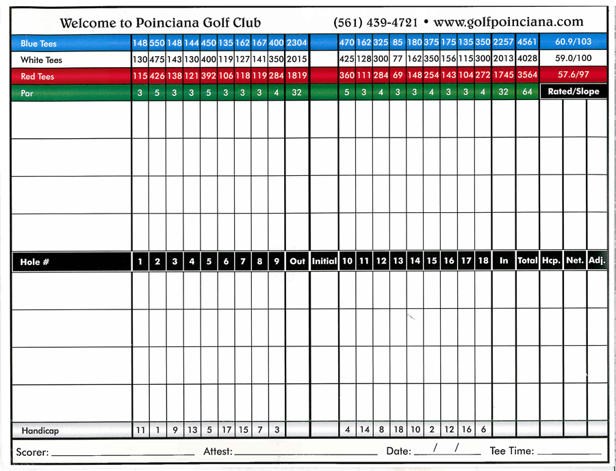 Poinciana Country Club Scorecard